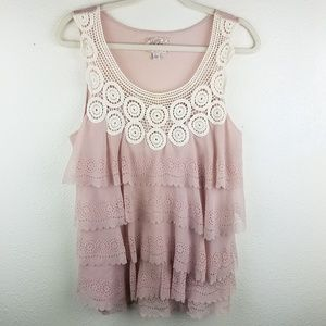 DELETTA  ANTHRO  Ruffled Layered Knit Pink Tank
